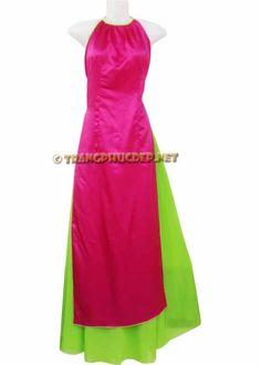 Trang phục biểu diễn văn nghệ: Áo dài cách điệu màu hồng cánh sen