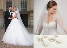 Katherine Jenkins got married all in White, keeping her look simple, you can get Katherine's style with our pearl drop earrings, E104 and our simple veil, C16A.