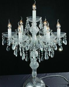 Ice Crystal Vintage Candelabra Chandelier Table Lamp Chandiliers - Chandelier table lamps crystals