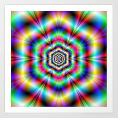 Psychedelic Hexagon Rings Art Print by colinforrest Neon Wallpaper, Colorful Wallpaper, Trippy, Rainbow Colors, Fractals, Psychedelic, Beautiful Places, Tapestry, Art Prints