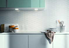 A little texture goes a long way! Our Lumina wall tiles series is a white large format ceramic tile available in multi designs and textures. Shown here in the Diamante Matt finish by richardsandsterling White Kitchen Backsplash, Wood Kitchen Cabinets, Kitchen Tiles, 3d Wall Tiles, White Wall Tiles, Decorative Tile, Tile Design, Contemporary Furniture, Interior Design