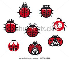 Ladybugs and ladybirds set in icon style isolated on white background, such a logo. Jpeg version also available in gallery