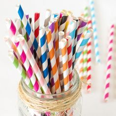 Colorful striped paper straws are perfect for adding a little color to your drink!