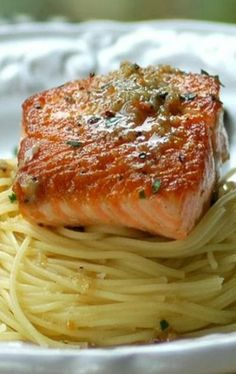 Crispy Grilled Salmon with Herbed Garlic Butter #pastafoodrecipes