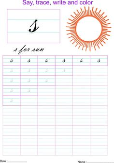 Cursive small letter s worksheet