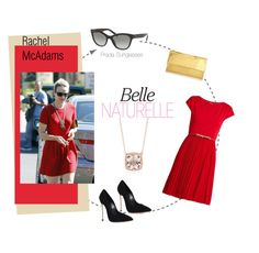 """Rachel McAdams Pretty in Red"" by visiondirect ❤ liked on Polyvore featuring MaxMara, Prada, Nancy Gonzalez, Casadei and Blue Nile"