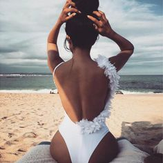 Hego Women Swimsuit White Lace Floral Backless Party Swimwear Bandage Bodysuits One Piece Bathing Suits White Swimwear Fashion, Bikini Swimwear, Swimsuits, Summer Swimwear, Vacation Outfits, Summer Outfits, Outfit Strand, Bikini Sets, Beach Poses