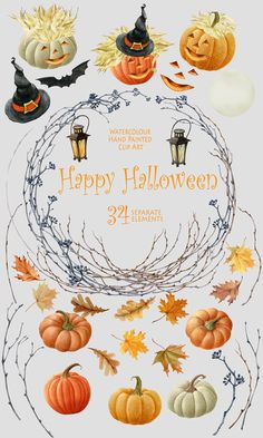 Halloween watercolor clipart Autumn clipart от WatercolorSeasons