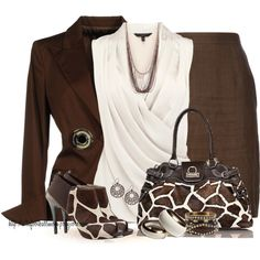 """Giraffe Print Purse & Shoes"" by tufootballmom on Polyvore"
