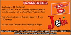 JOB DESCRIPTION FOR PLANNING ENGINEER Position: Planning Engineer (Project) Work Location: Nagpur Qualification: B.E Mechanical Experienced: Minimum & Max 3Yr - 4 Yrs Planning Engineer experience in similar industry such as Waste Water Treatment Plant Mandatory skills: MS Projects Planning Engineer Job Duties: •	Developing best methods for construction activities and determining optimal sequence of operations on the construction site(Construction of effluent treat plant,WTP,UI) •	Responsible…