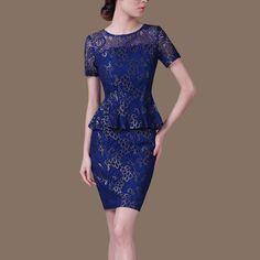 2015夏装新款假两件套包臀裙蕾丝女连衣裙中年大码女装修身短袖裙-淘宝网