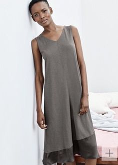 de86040363 Eileen Fisher Sleepwear Nightgown Organic Cotton w Silk Trim Gray S 8 10 NWT