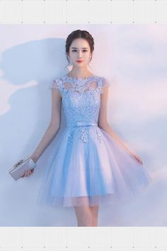Homecoming Dress Blue, Light Blue Prom Dress, Prom Dress A-Line, Short Prom Dress, Lace Homecoming Dress #Light #Blue #Prom #Dress #Lace #Homecoming #ALine #Short Prom Dresses 2019