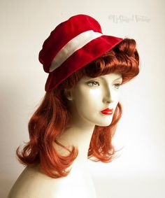 Vintage 1940s/50s Red Velvet Hat with White Grosgrain Ribbon & Bow by UpStagedVintage on Etsy