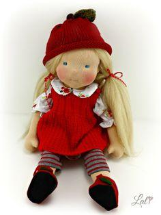 Teddys türkis farbene Mütze und Schal Teddy Bär oder Puppe  handgestrickt