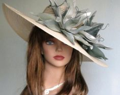 Woman Church Wedding Hat Head Piece Kentucky Derby Hat Gray Bridal Coctail Hat Couture Fascinator  Bridal Hat