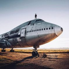 ITAP of my friend on an abandoned Boeing 747