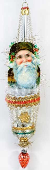 Green Santa in Fancy Bell with Glass Pinecone Bead  http://victorianornaments.com