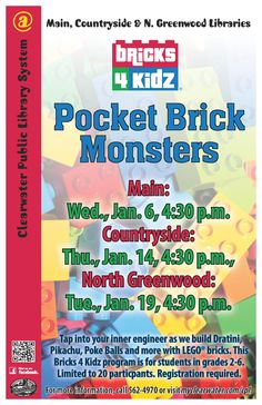Tap into your inner engineer as we build Dratini, Pikachu, Poke Balls and more with LEGO® bricks. This Bricks 4 Kidz program is for students in grades 2-6. Limited to 20 participants. Registration required.