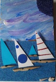Barchette con mollette e triangoli. Summer Art Projects, Summer Crafts For Kids, Summer Activities For Kids, Art Activities, Art For Kids, Vocabulary Activities, Boat Crafts, Ocean Crafts, Preschool Crafts