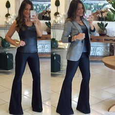 Amazing look that could transition from work to a night out Stylish Work Outfits, Hot Outfits, Black Flare Pants, Bootleg Jeans, Casual Chique, Dark Jeans, Got The Look, Work Looks, Pants Outfit