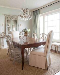 Sea salt sherwin williams(I think), ivory dining room Paint WOOD PANELING!