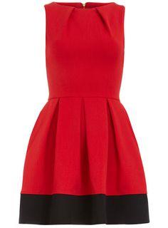 Dorothy Perkins  Red contrast hem pleat dress