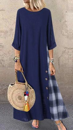 Dress Women Casual Patchwork Sleeves O-Neck Button High Low Hem Plus Size Maxi Dresses Vestidos Robe Femme Plus Size Maxi Dresses, Casual Dresses, Loose Dresses, Elegant Dresses, Sexy Dresses, Formal Dresses, Wedding Dresses, Tunic Dresses, Ladies Dresses