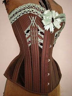 Brown corset with lace and flossing