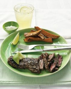 Skirt steak marinated in lime juice, soy sauce, garlic, and jalapeno
