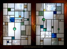 Mondrian inspired etched, stained & patterned glass windows
