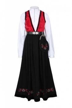 Rød pascal festdrakt til dame Folk Costume, Costumes, Dame, Cold Shoulder Dress, Dresses, Fashion, Vestidos, Moda, Dress Up Clothes