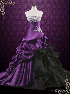 Unique Purple Lace Ball Gown Wedding Dress with Ruffles Viola