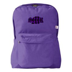Personalize this American Apparel™ Backpack to say whatever you like! American Apparel™ Nylon Cordura® (100% Nylon) construction. Matching nylon zipper closure. Front pocket area also customizable.