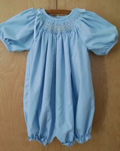 Vtg Luli & Me Toddler Girl Bubble Romper 24M Light Blue Dressy Smocked Bishop #LuliMe #DressyHoliday