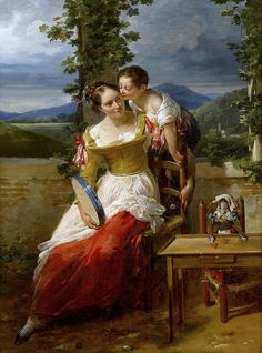 Haudebourt-Lescot, Antoinette Cécile Hortense -- Mother and Child playing on a terrace 1784 to 1845