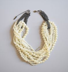 Vintage inspired strands of pearls and sparkly rhinestones make this layered necklace a must have for any season. Pearl and crystals statement necklace.