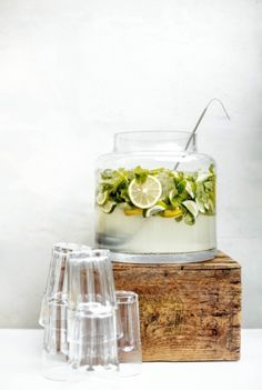 Le Garconnet // gin punch // lemons // limes // mint leaves // mojito punch // mojito pitcher // party beverage