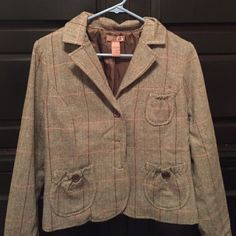 Jacket/Blazer Size Large Gadzooks short blazer/jacket.  It runs small. It is brown with peach and teal highlights. Great condition. No holes or stains. Gadzooks Jackets & Coats Blazers