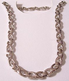 Monet Crossed Band Necklace Choker Silver Vintage Smooth Link Chain