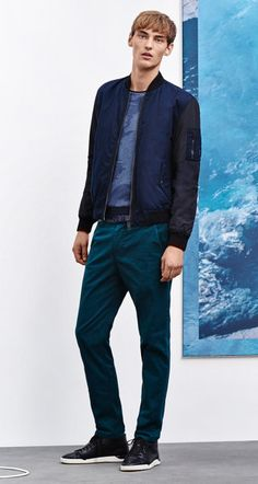 Blue bomber jacket, pullover, trousers, belt ans shoes by BOSS Orange