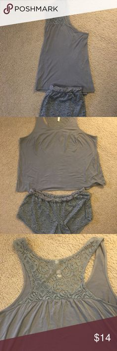 LANE BRANT CACIQUE 2 piece gray pj set LANE BEYANT CACIQUE brand 2 piece gray pj set. The bottom are shirts and covered in a lace over lay. LANE BRYANT CACIQUE Intimates & Sleepwear Pajamas