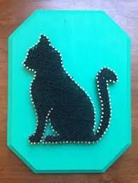 Teal/Black Strings, Nails, and Wood By Amy Perrier String Wall Art, Nail String Art, String Crafts, Cat Crafts, Diy Arts And Crafts, Fabric Cards, String Art Patterns, Pin Art, Crafty Craft