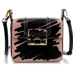 Lanvin Jiji Mini Bag ($1,800) ❤ liked on Polyvore featuring bags, handbags, pink, mini bag, print bags, lock bag, miniature purse and print handbags