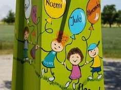 1 gemaltes Kind mit Name im Luftballon