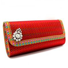 Printed Clutch with Motif - Red