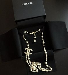 9d23e617398 CHANEL CC Pearl Encrusted Necklace Gold Metal Double Chain 42