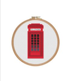 Cross stitch pattern, London phone booth, Red phone booth, Phone booth, London sign, Telephone cabin, Easy cross stitch, Cheap cross stitch ______  # Please be aware that this is a PDF Cross Stitch Pattern only, not a finished product. No fabric, floss, or other materials are included in the listing. This pattern is an Instant Download and the file will be available via Etsy once payment is confirmed.  # The PDF Pattern comes with basic information, a pattern in colorblocks and symbols and a…