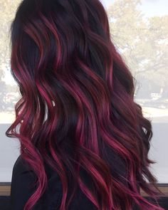 Beautiful magenta balayage created by - Best Content Ever - BCE Network Magenta Hair, Red Ombre Hair, Hair Color Streaks, Hair Dye Colors, Hair Color For Black Hair, Cool Hair Color, Violet Hair, Ombre With Red, Black Hair With Red Highlights