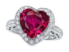 Original Star K(tm) Large 10mm Heart Shape Created Ruby Engagement Wedding Ring